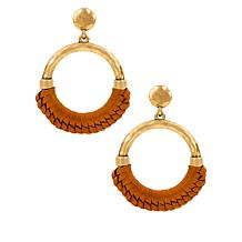 Patricia Nash Margaux Leather-Wrapped Doorknocker Earrings