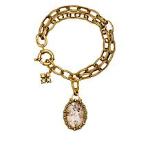 """Patricia Nash National Gallery Double Chain 9"""" Charm Bracelet"""