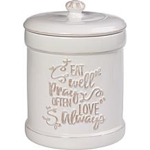 Precious Moments Eat Well Pray Often Love Always Kitchen Canister