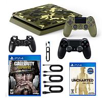 PS4 Slim 1TB Console with Silicone Sleeve and 2 Games