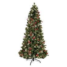 Puleo International 7.5' Pre-lit Slim New Zealand Artificial Pine Tree