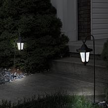 Pure Garden Solar LED Hanging Coach Lanterns - Black