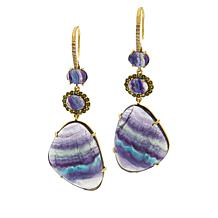 Rarities  Gold-Plated Fluorite and Multi-Gemstone Drop Earrings