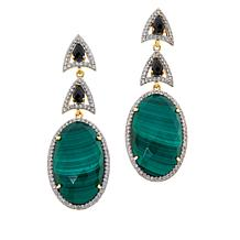 Rarities Gold-Plated Gemstone Abstract Linked Drop Earrings