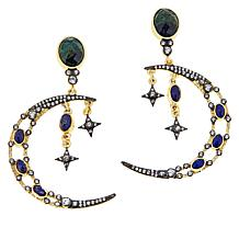 Rarities Gold-Plated Multigemstone Moon and Stars Drop Earrings
