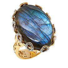 Rarities Gold-Plated Sterling Silver Gemstone Oval Cabochon Ring