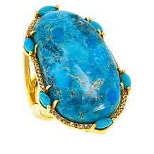 Rarities Gold-Plated Turquoise and White Zircon Ring