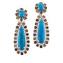 Rarities Kingman Turquoise and Orange and Yellow Zircon Drop Earrings