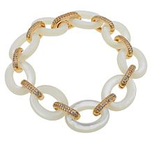 Rarities Mother-of-Pearl Link and White Topaz Bracelet
