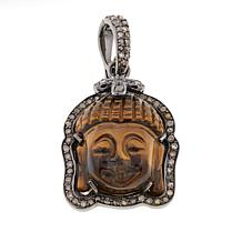 Rarities Tiger's Eye & Diamond Buddha Enhancer Pendant