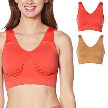 Rhonda Shear 2-pack Padded Shoulder Strap Seamless Leisure Bra