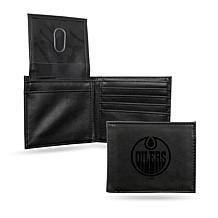 Rico Laser-Engraved Black Billfold Wallet -  Oilers