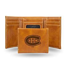 Rico Laser-Engraved Brown Tri-fold Wallet - Canadiens
