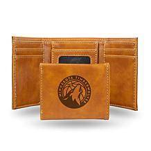 Rico Laser-Engraved Brown Tri-fold Wallet - Timberwolves