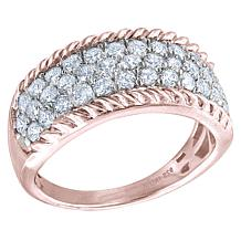 """Robert Manse """"CZ RoManse"""" Sterling Silver CZ Cable Border Band Ring"""