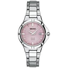 Seiko Women's Stainless Steel Pink Dial Date Window Solar Watch