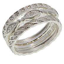 Sevilla Silver™ 3-piece Diamond-Accented Stack Ring Set
