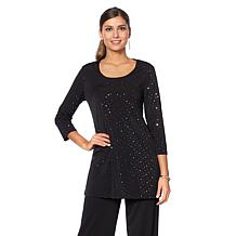Slinky® Brand 3/4-Sleeve Embellished Long Tunic