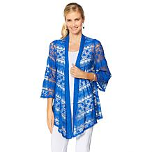 Slinky® Brand Bell-Sleeve Angle-Front Lace Jacket
