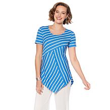 Slinky® Brand Short-Sleeve Striped Hanky-Hem Tunic