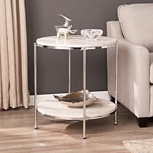 Southern Enterprises Blenheim Round Faux Marble End Table - Chrome