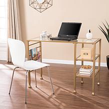 Southern Enterprises Dina Metal & Glass Writing Desk - Gold