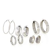 Stately Steel 5 Pairs of Assorted Hoop Earrings