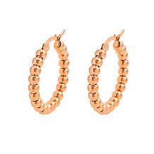 Stately Steel Beaded Hoop Earrings