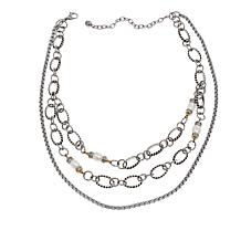 """Stately Steel Crystal and Cultured Pearl Multi-Chain 14-3/4"""" Necklace"""