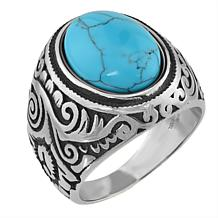 Stately Steel Domed Howlite Scroll Ring
