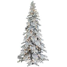 Sterling Flocked Spruce Lighted Christmas Tree