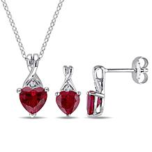 Sterling Silver Created Ruby Heart Earrings, Pendant and Chain Set