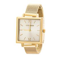 Steve Madden Women's Goldtone Square Dial Mesh Band Watch