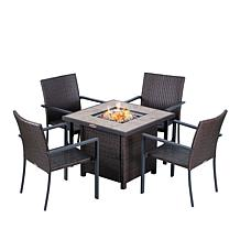 Sun Joe 5-piece Rattan Style Patio Set with Fire Pit Table