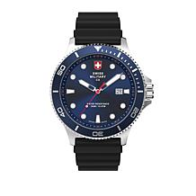 """Swiss Military by Charmex """"Infantry"""" Blue Dial Silicone Strap Watch"""