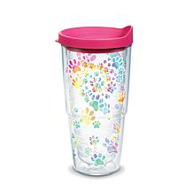 Tervis Project Paws Tie Dye Paw Heart 24 oz Tumbler with fuchsia lid