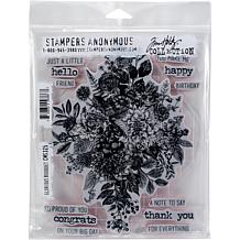 "Tim Holtz Cling Stamps 7"" x 8.5"" - Glorious Bouquet with Gridblock"
