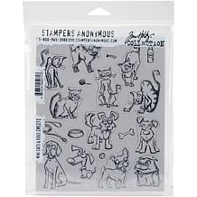 "Tim Holtz Cling Stamps 7"" x 8.5"" - Mini Cats and Dogs"