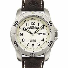 Timex Men's Expedition Brown Leather Strap Easy-Set Alarm Analog Watch