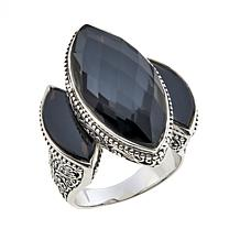 Traveler's Journey 14.99ctw Hematite Quartz Doublet 3-Stone Ring