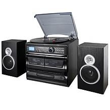 Trexonic 8-in-1 Turntable with Dual Cassette Player, Radio & Speakers