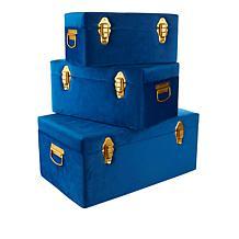 Velvet Trunks with Matte Gold Hardware - Set of 3