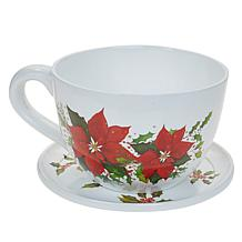 """Wind and Weather 7"""" Holiday Teacup Planter and Saucer"""