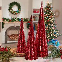 Winter Lane Set of 3 Sequin Trees
