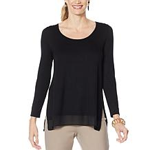 WynneLayers Long-Sleeve Knit Top with Chiffon Hem
