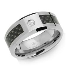 0.03ctw Diamond Tungsten & Carbon Fiber Wedding Band