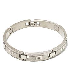 "0.10ctw Diamond-Accented Men's Stainless Steel Link 8-1/2"" Bracelet"