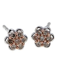 0.14ctw Colored Diamond Cluster Stud Earrings