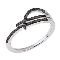 0.15ctw Green Diamond 3-Row Sterling Silver Band Ring