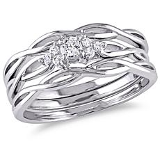 0.16ctw White Diamond 10K 3-piece Bridal Ring Set